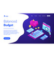budget planning isometric 3d landing page vector image vector image