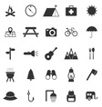 Camping icons on white background vector image vector image
