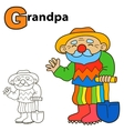 Cartoon Grandpa Coloring book page Colours game vector image vector image