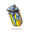 cartoon surprise gift yellow color with blue vector image vector image