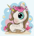 cartoon unicorn with flowers on a blue background vector image