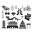 China Mono Objects Set vector image