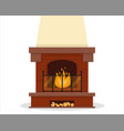 classic brown fireplace on white background vector image vector image