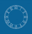 clock face with roman numerals on blue background vector image vector image