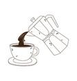 coffee moka pot pouring on cup fresh line icon vector image vector image