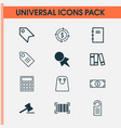 commerce icons set with paper tag microcomputer vector image