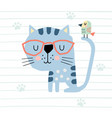cute cartoon cat and bird colorful vector image