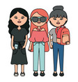cute girls with accessories urban style characters vector image vector image