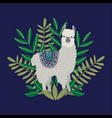 cute llama with leaves on the blue background vector image vector image