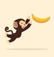 cute monkey jump with banana vector image vector image