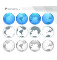 dotted digital earth globes set vector image vector image