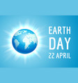 earth day banner with blue globe vector image vector image