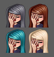 emotion icons facepalm female vector image vector image