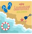enjoy summer holidays beach seashore life ring bac vector image