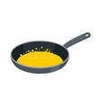 frying pan with butter isolated kitchen utensils vector image vector image