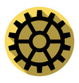 gear sign flat black icon with flat vector image vector image