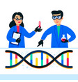 genome sequencing concept scientists working in vector image vector image