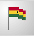 ghana waving flag creative background vector image vector image