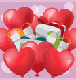 gift red heart balloon vector image