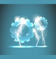 glass gear icon with realistic lightnings vector image