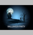 greeting card on a halloween with an old castle on vector image vector image