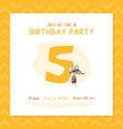 happy 5th birthday invitation card template vector image