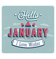 hello january typographic design vector image