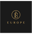 initial letter e with crown logo design vector image