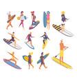 isometric set people on surfboard boys and girls vector image