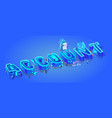 isometric word account little characters around vector image vector image