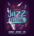 jazz music poster ticket or program vector image