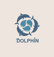 jumping dolphin emblem vector image