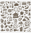 kitchen tools food - doodles set vector image