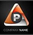 Letter p logo symbol in the colorful triangle on