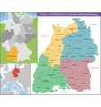 Map of Baden-Wurttemberg vector image vector image