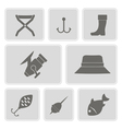 monochrome icons with fishing attributes vector image