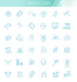 museum icons set exhibits collection thin vector image