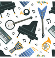 musical instruments seamless pattern piano banjo vector image