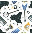 musical instruments seamless pattern piano banjo vector image
