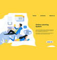 online learning landing page distant education vector image vector image