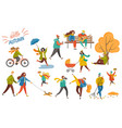 people walking in park hello autumn card vector image vector image