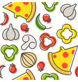pizza and ingredients seamless pattern outline vector image vector image