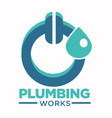 plumbing works logo with toilet plunger and water vector image