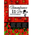 remembrance day poppy flower memorial card vector image vector image