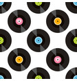 seamless pattern with vinil recordson white vector image