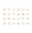 set hand drawn golden icons for social networks vector image