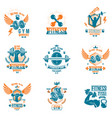 set of bodybuilding theme emblems and advertising vector image