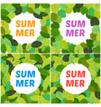 set of four backgrounds with summer leaves vector image