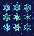 set of neon snowflakes vector image vector image