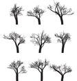 Set of nine silhouettes of trees vector image